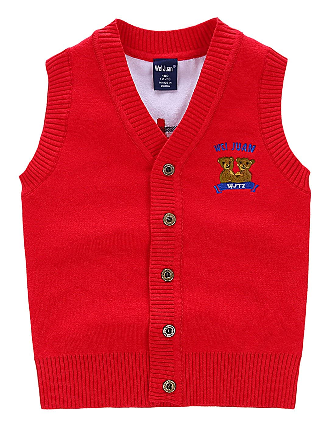 Wei Juan Boys Cardigan Sweater Vest Cartton Bears Unisex Kids Button Down Waistcoat 2-7T