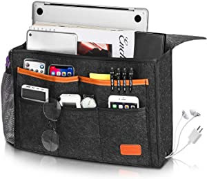 Bedside Caddy, Large Size 15.7''x9.8'' inch for Bed Storage Organizer, Bed Hanging Caddy with 8 Pockets for Laptop, Magazine, Remote Holder, using in dorm, Bed, Kids Storage Organizer Gift, Dark Gray