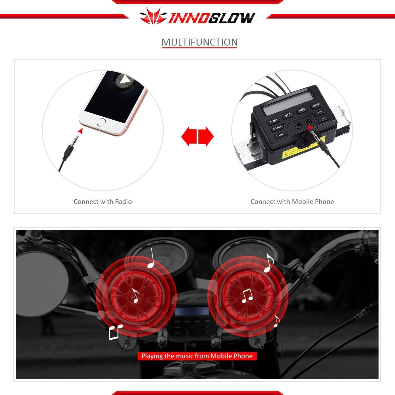 INNOGLOW Motorcycle Stereo Speakers Waterproof Handlebar Mount MP3 Music Player Audio Radio Amplifier System for Honda VT ATV Shadow Spirit Velorex Deluxe 600 750 1100