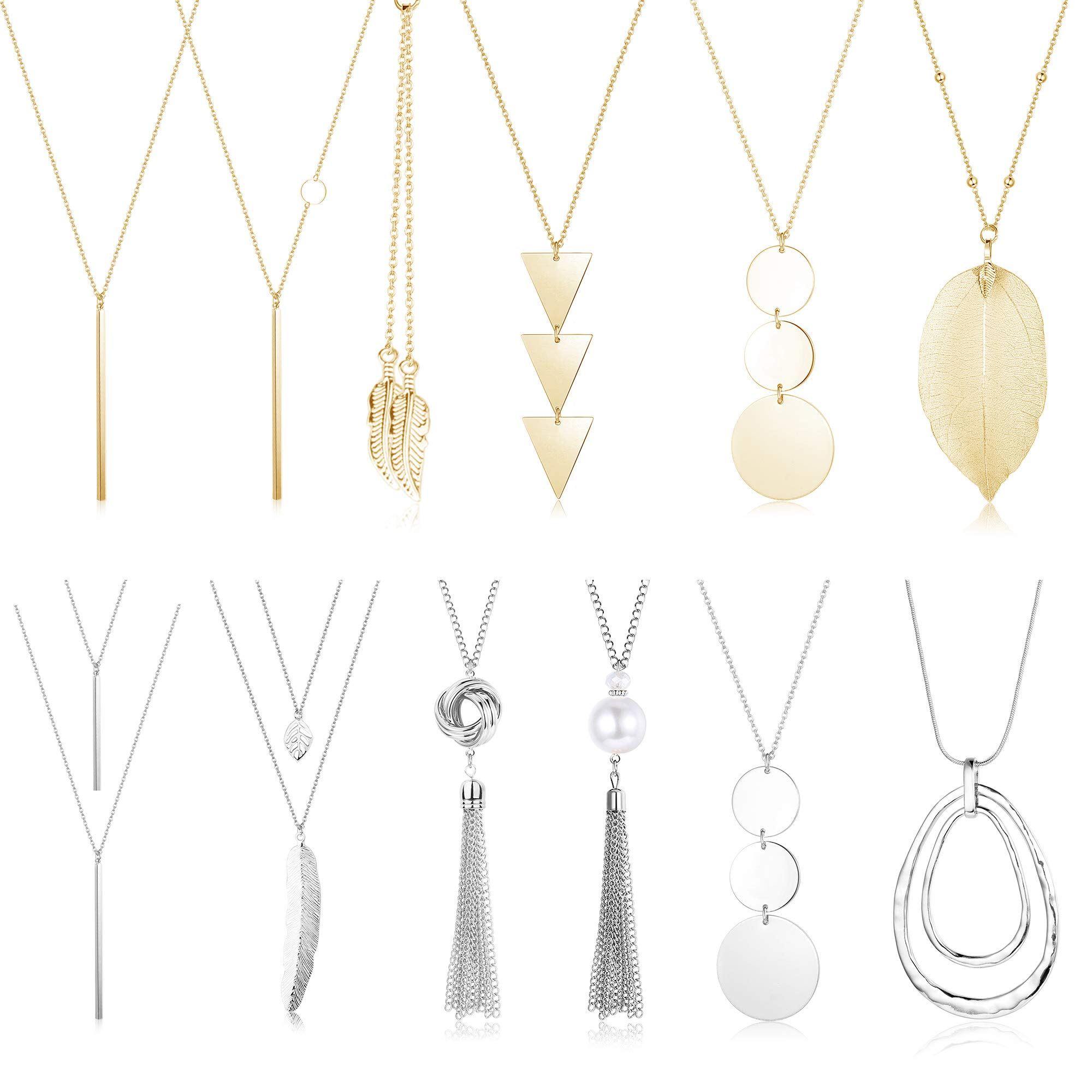 CASSIECA 12 Pcs Long Pendant Necklace for Women Leaf Bar Y-Shaped Tassel Triangle Statement Necklace Long Chain Simple Layer Sweater Necklace Set
