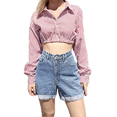 805d52a5411620 Staron Womens Crop Top Long Sleeve Button Up Striped T Shirts Short Tank  Crop Tops (