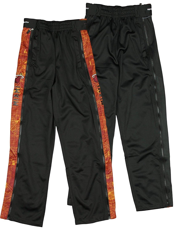 Miami Heat NBA Big Boys BluePrint Tear-Away Pants, Black Zipway