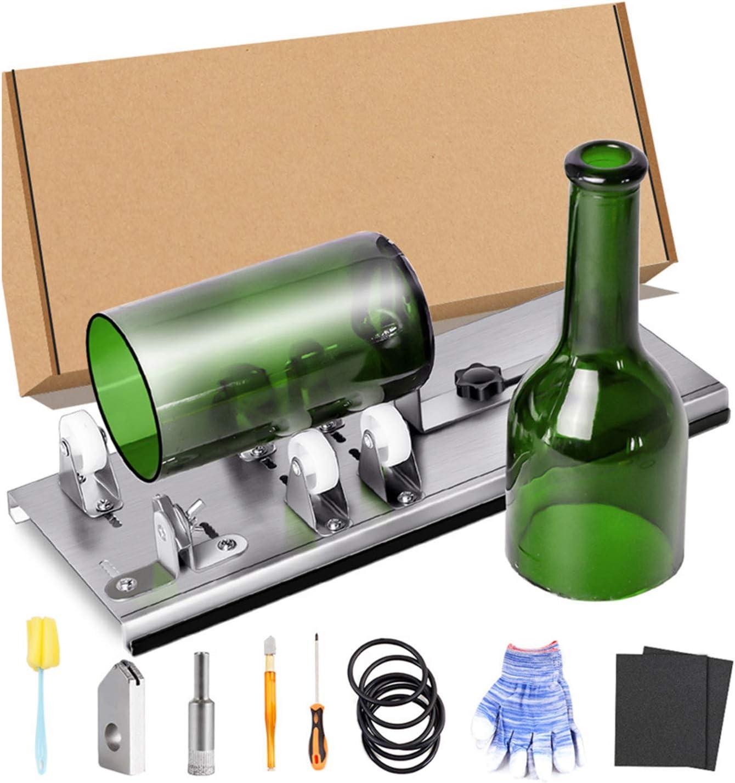 ZZQ Cortador de Botellas de Vidrio Herramienta de Corte Ajustable Cerveza Botella Máquina de Corte para Cortar Botellas de Vino Botellas de Cristal,Bricolaje,Vela,Carillón de Viento,Jarrón W-8