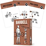 "NewMe Fitness Barbell Exercise Cards by Contains 50 Barbell Exercises – Total Body Workout– Perfect for Home Workouts – Your Personal Trainer – Large Durable Waterproof 3.5""x5"" Cards"