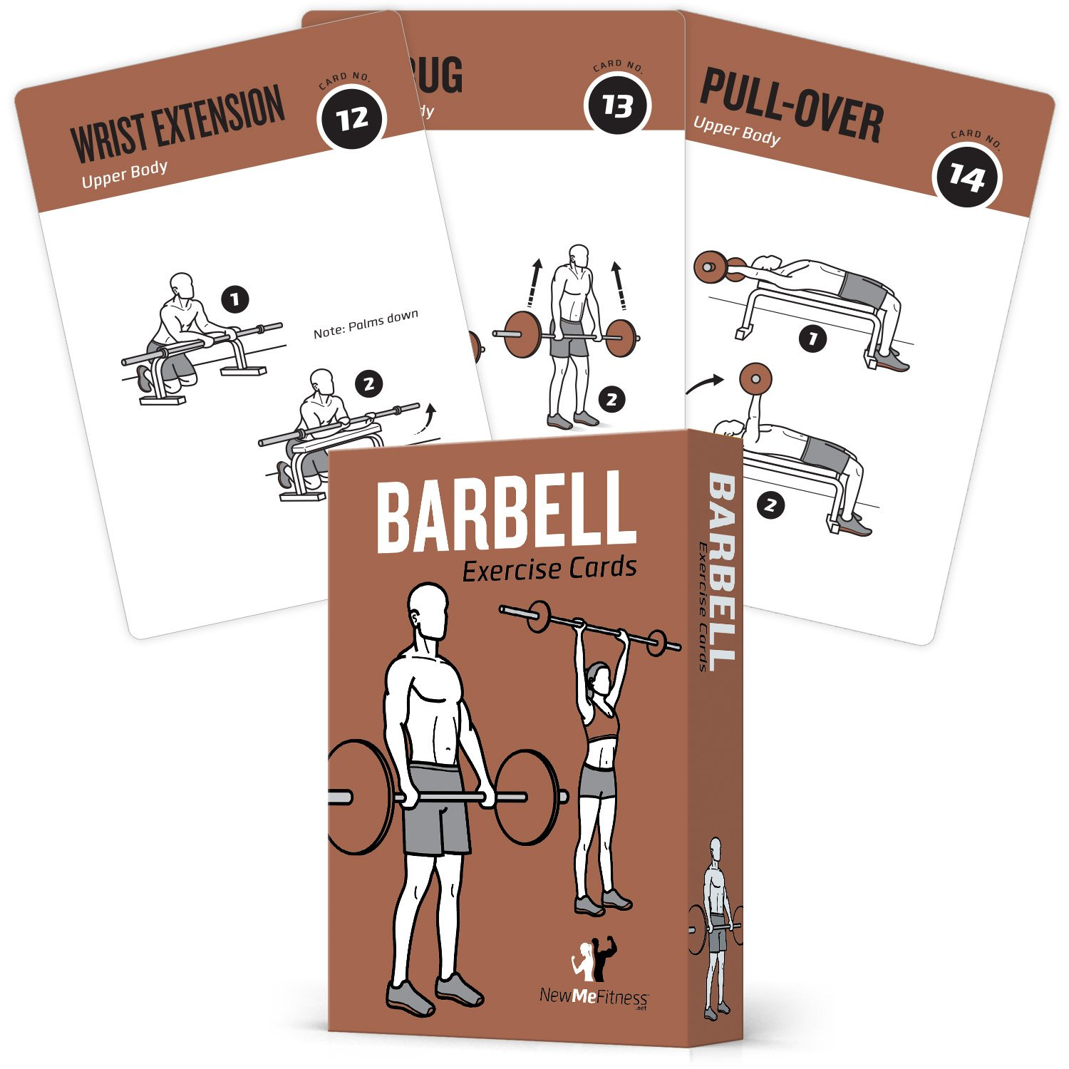NewMe FitnessBarbell Workout Cards – Instructional Deck for Women & Men, Beginner Fitness Guide to Training Exercises at Home or Gym
