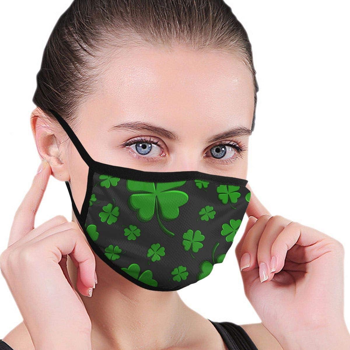Máscaras de poliéster Máscaras Antipolvo Hoja de trébol Verde Decorativo en un Ciclismo Camping Máscaras faciales de Media Cara 1 Pieza