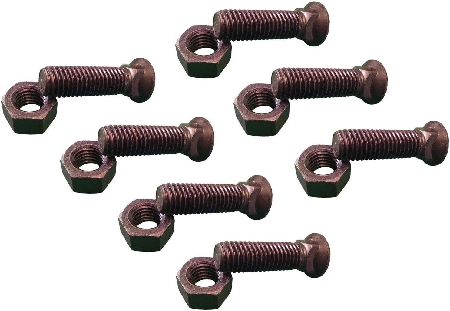 Grade 8 3//4-10X2 1//2 7 Plow Bolt /& Nut for Blades//Cutting Edge Dome Head