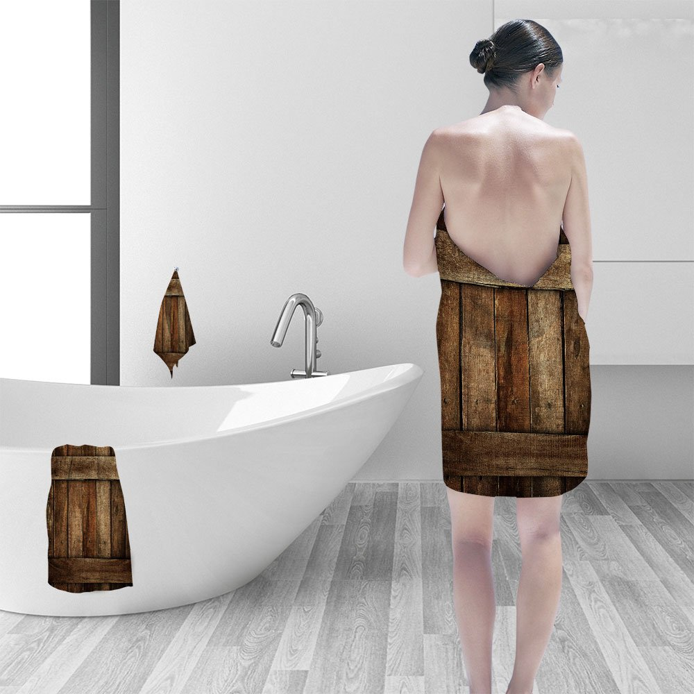 Nalahomeqq Bath towel set old wood plank 3D Digital Printing No Chemical OdorEco-Friendly Non Toxic13.8 x 13.8-11.8''x27.6''-27.6''x55.2''