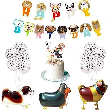 Fangleland Decoraciones de cumpleaños de Mascotas para Perros Cachorros Niñas o niños con Mascotas Perrito Feliz cumpleaños Cupcake Toppers y Mascotas ...