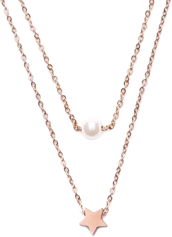 Happiness Boutique Damas Collar a Capas con Colgante en Oro Rosa | Collar Delicado con Charm Perla y Estrella Libre de Níquel