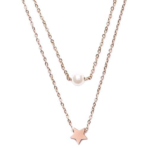 check-out d7465 426e1 Happiness Boutique Collana con Doppia Catenina e Pendente in Oro Rosa    Delicata Collana con Perla e Stella Senza Nickel