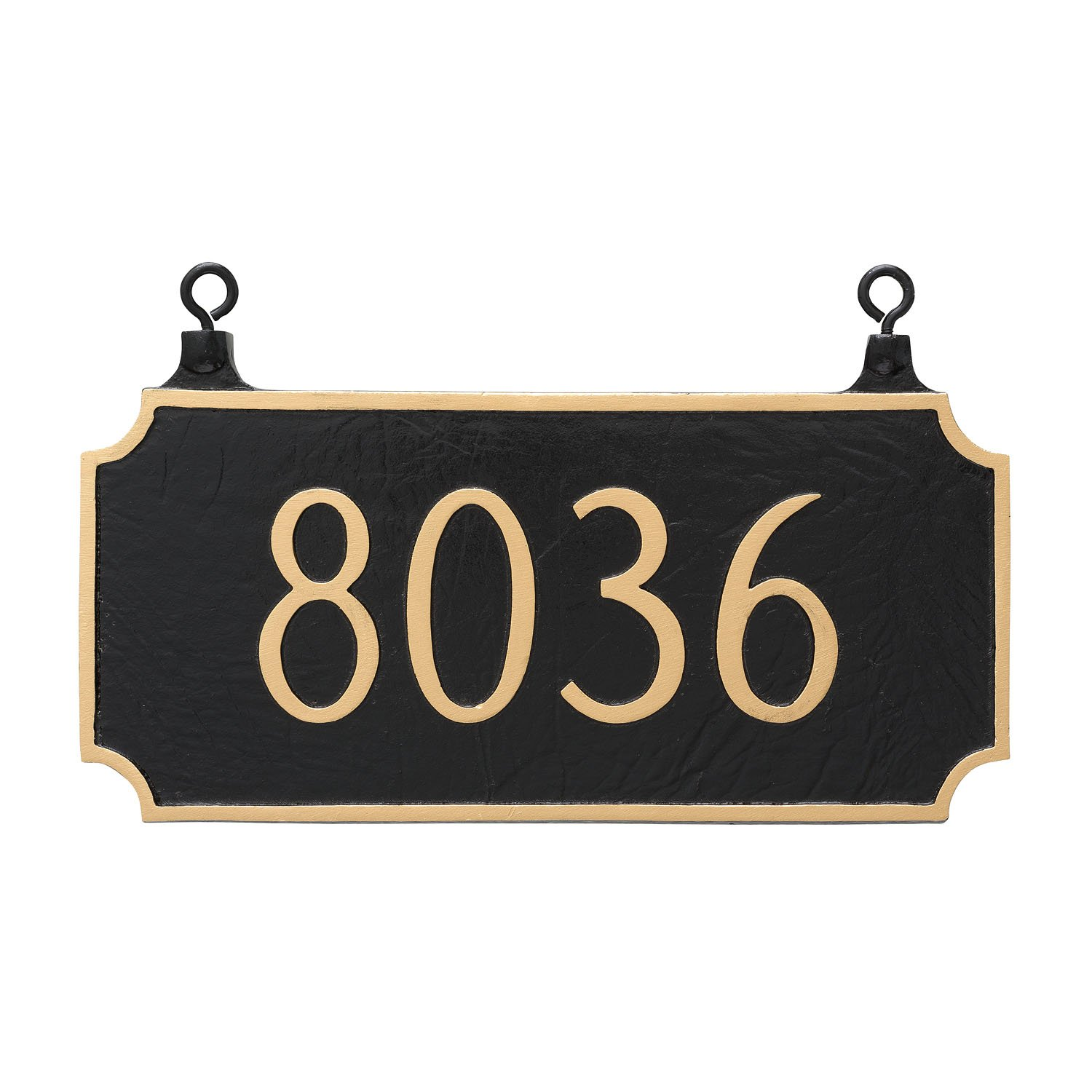 Montague Metal TSH-0005S1-H-BW Double Sided Hanging Princeton Address Sign Plaque, 7.25'' x 15.75'', Black/White