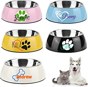 Personalized Dog/Cat Food Bowl, Custom Name Food Bowls for Pet, Custom Stainless Steel Pet Dog Bowl with Non-Slip Rubber Base (Custom pet Bowl Black)