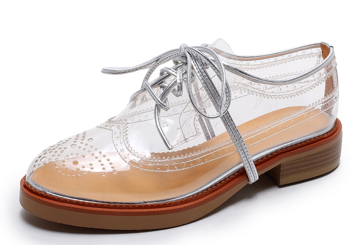 Bruno Bianci Women's Vegan Oxford Brogue Transparent Clear Shoes Perfect for Colourful Happy Socks (US 9.5)