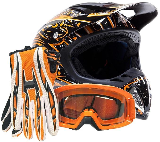 Adult Offroad Helmet Goggles Gloves Gear Combo Orange Splatter ( Large )