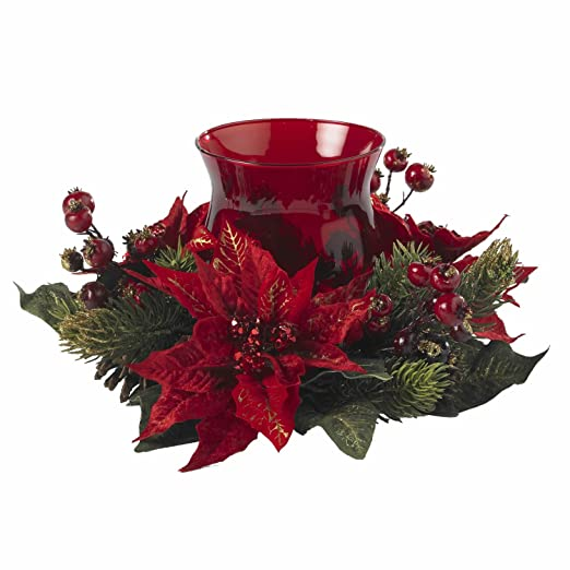 Christmas Tablescape Decor - Nearly Natural Red Poinsettia and Berry Candelabrum