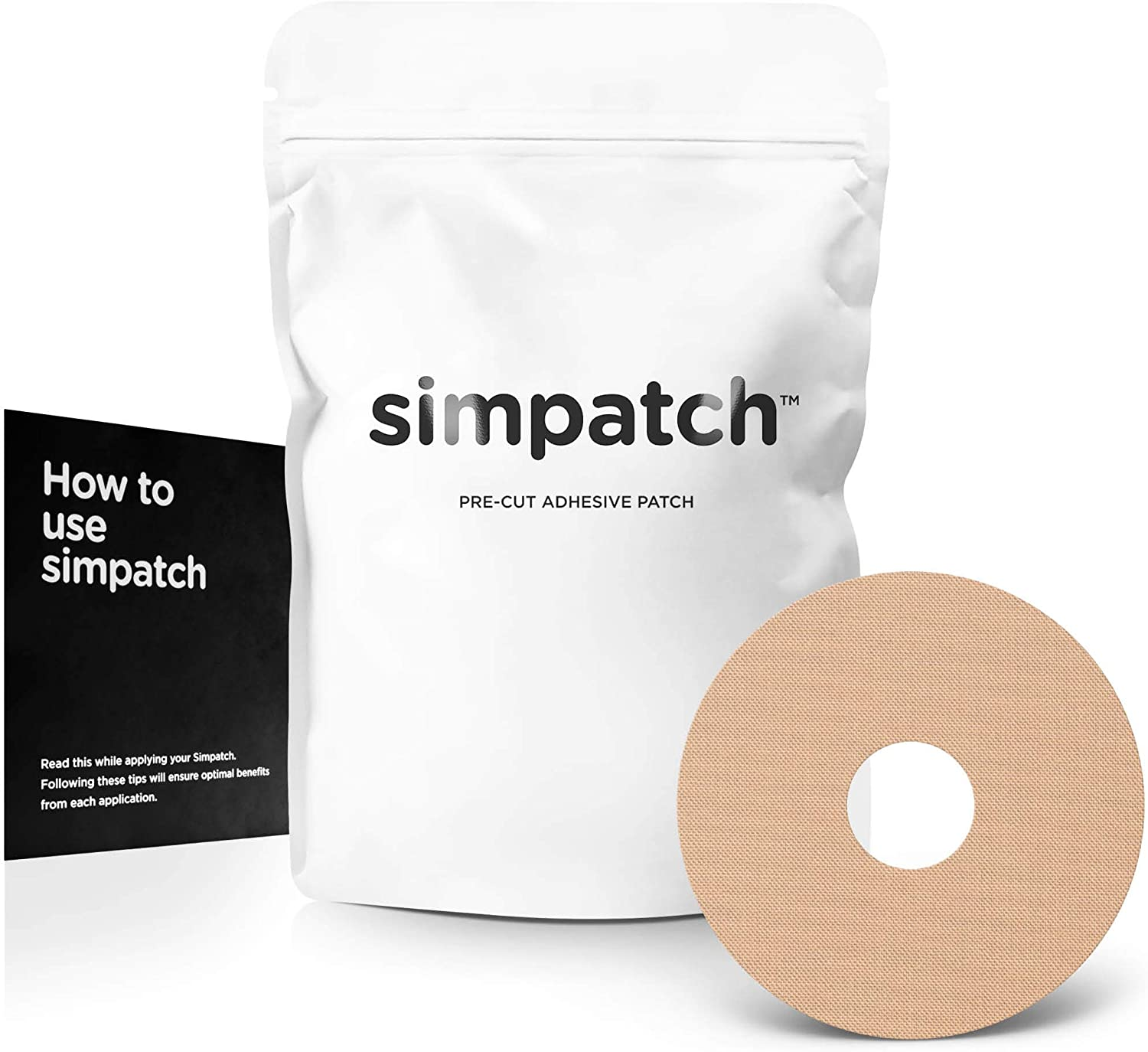 SIMPATCH – Universal Adhesive Patch, 0.8-Inch Hole (30-Pack) – Waterproof Adhesive, CGM Tape – Multiple Color Options