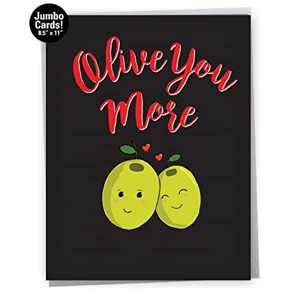Amazon jumbo valentines day greeting card olive you more jumbo valentines day greeting card olive you more with envelope large size m4hsunfo