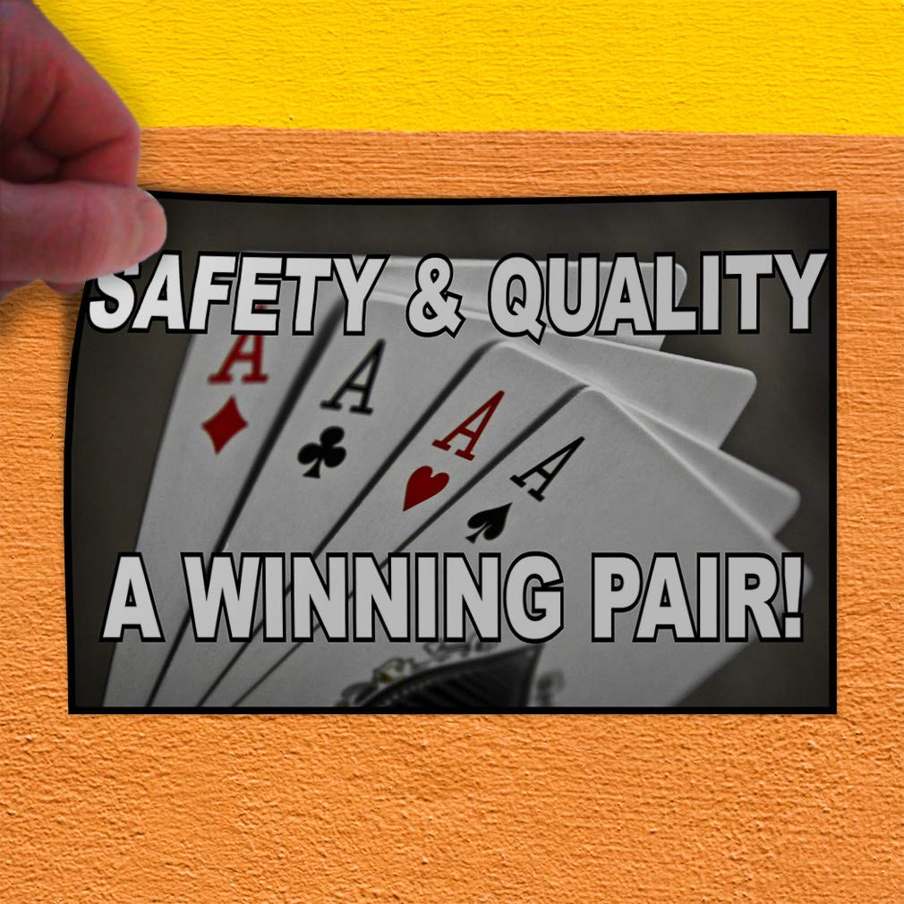 Set of 5 Decal Sticker Multiple Sizes Safety and Quality A Winning Pair Lifestyle Safety Sign Outdoor Store Sign White 27inx18in