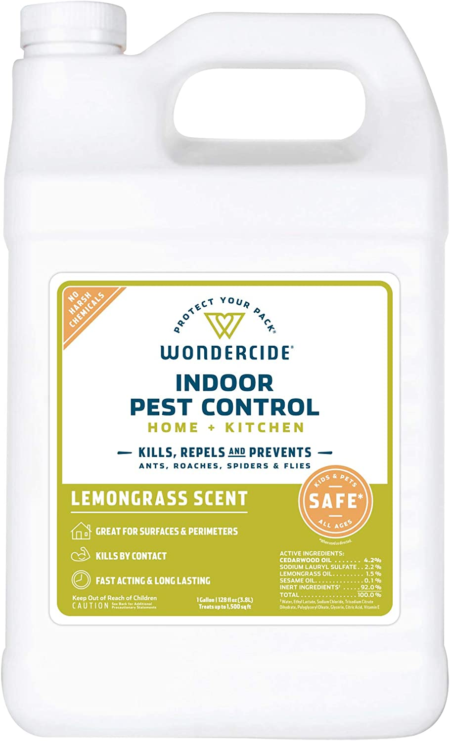Wondercide Natural Products - Indoor Pest Control Spray for Home and Kitchen - Fly, Ant, Spider, Roach, Flea, Bug Killer and Insect Repellent - Eco-Friendly, Pet and Family Safe — 128 oz Lemongrass