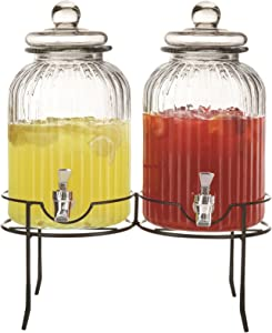 Style Setter 210996-2R-GB 1.3 Gallon Each Set of 2 Glass Beverage Drink Dispensers with Metal Stand, 14 x 8 x 17, Clear