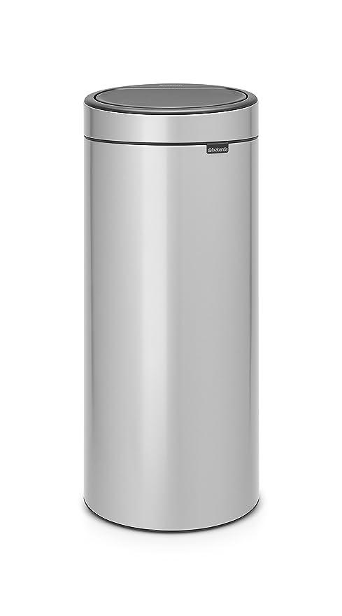 Brabantia Touch Bin Cubo de Basura, 30 litros, Acero Inoxidable, Gris Metalizado, 32 x 29.5 x 72 cm