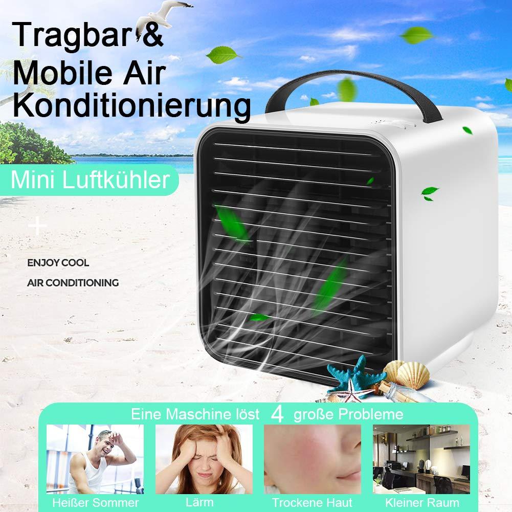StillCool Mini Pers/önliche Klimaanlage Kleine Luftk/ühler Luftbefeuchter Luftreiniger Mobile Klimager/äte 3 Leistungsstufen 7 Verschiedene Farben 3 in 1 Tragbare lventilator