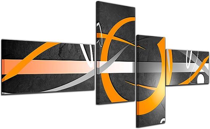Bilderdepot24 Cuadros en Lienzo - Arte abstracto Abstracto 02a naranja - 140x65cm 4 piezas - listo tensa, directamente desde el fabricante: Amazon.es: Hogar