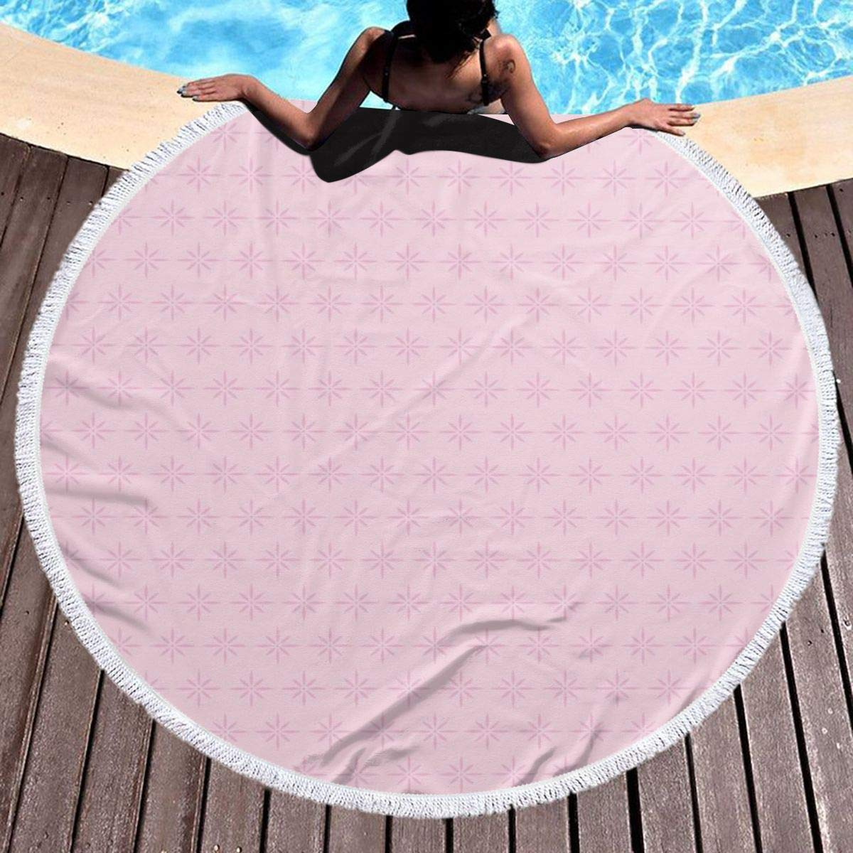 Round Beach Towel Beach Blanket,Red Sky at Night with Starry Landscape and Mountains Astrology Astronomy,Large Multi-Purpose Towel Beach Mat 59