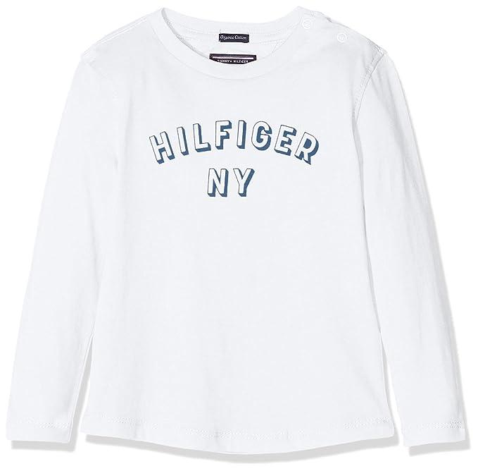 Tommy Hilfiger Essential Big Logo tee L/s, Camiseta para Bebés, Blanco (