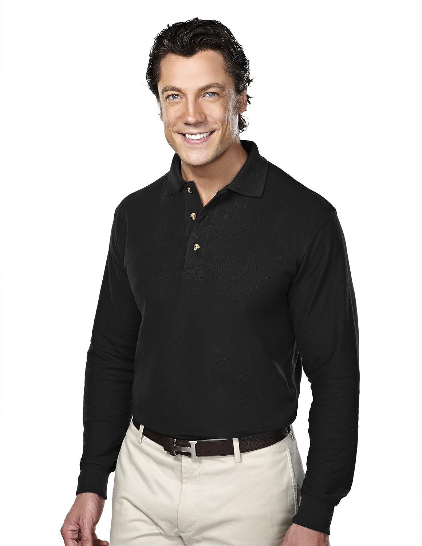 Tri Mountain Men Champion Long Sleeve Pique Knit Golf Shirt 15