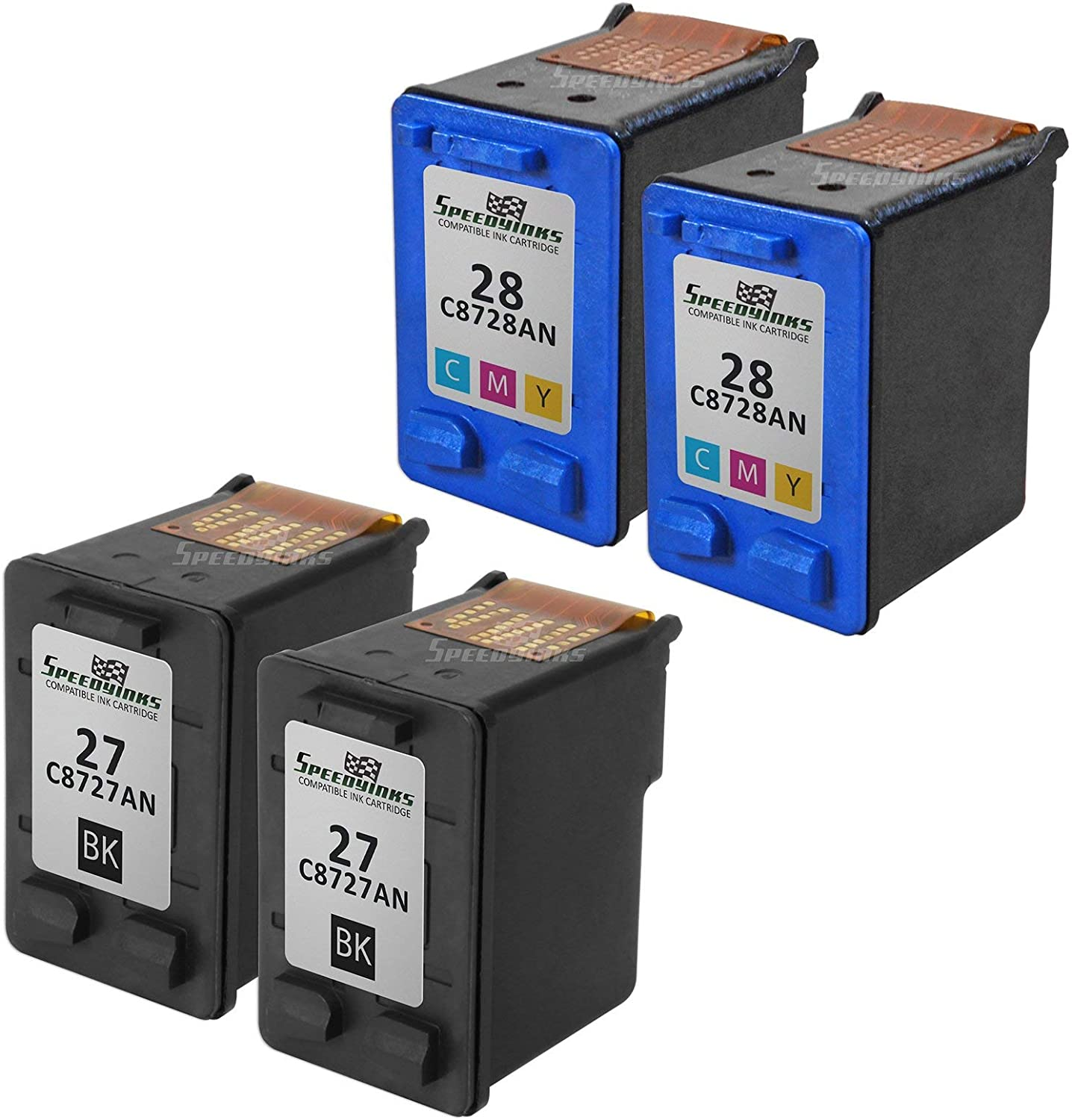 SpeedyInks Remanufactured Ink Cartridge Replacement for HP 27 and HP 28 (2 Black, 2 Color, 4-Pack)