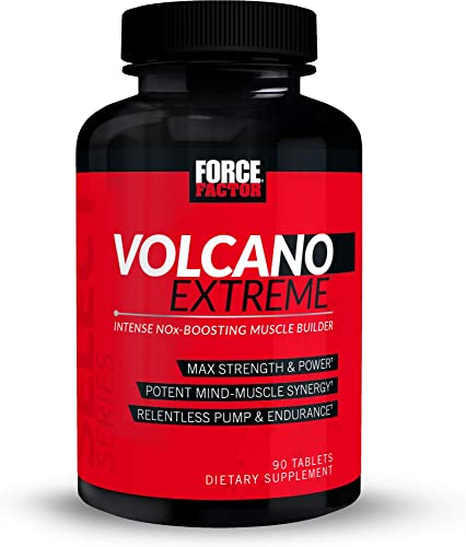 Volcano Extreme Pre-Workout Nitric Oxide Booster with NItrosigine, L-Citrulline, and CON-CR T for Muscle Pumps, Strength, Focus, Force Factor, 90ct