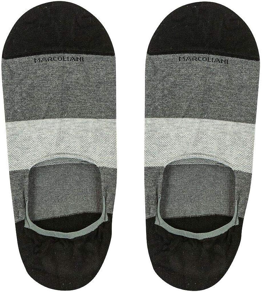 Marcoliani Milano Mens Color Block Invisible Touch No Show Liner Socks, Black/Asphalt