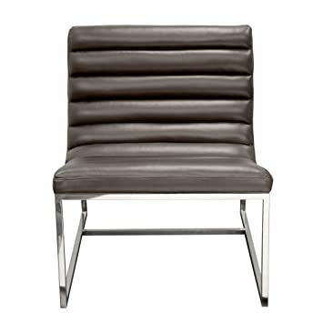 Bardot Lounge Chair W/ Stainless Steel Frame By Diamond Sofa   Elephant  Grey  #