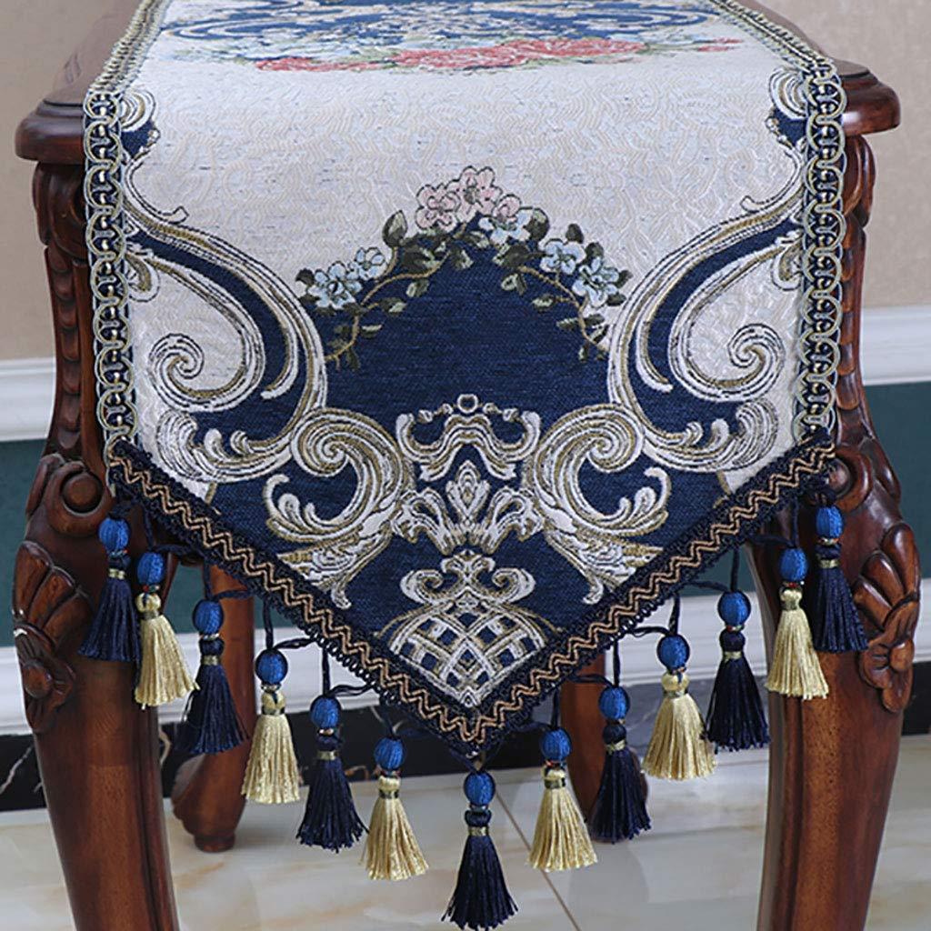 素朴な結婚式のためのテーブルランナー、ランナーと縫われた端、装飾テーブルラン、ランナーとドレッサースカーフ、青(サイズ:35 * 260 cm) 35*260cm  B07SMQRLXM