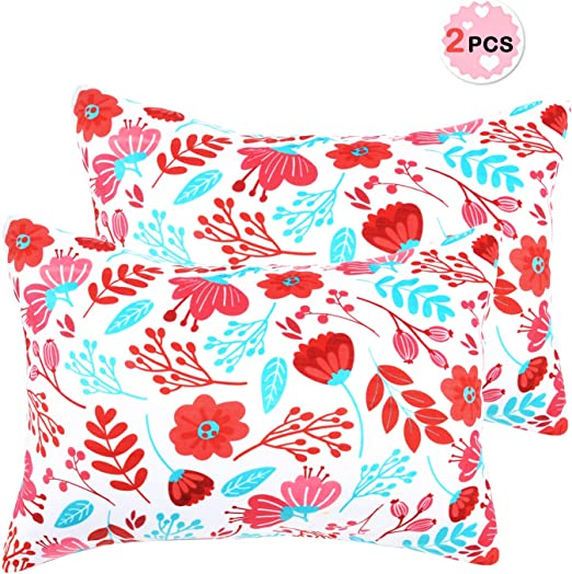 Sylfairy Toddler Pillowcase Kids Red Flower Pillowcover 2 Pack 14