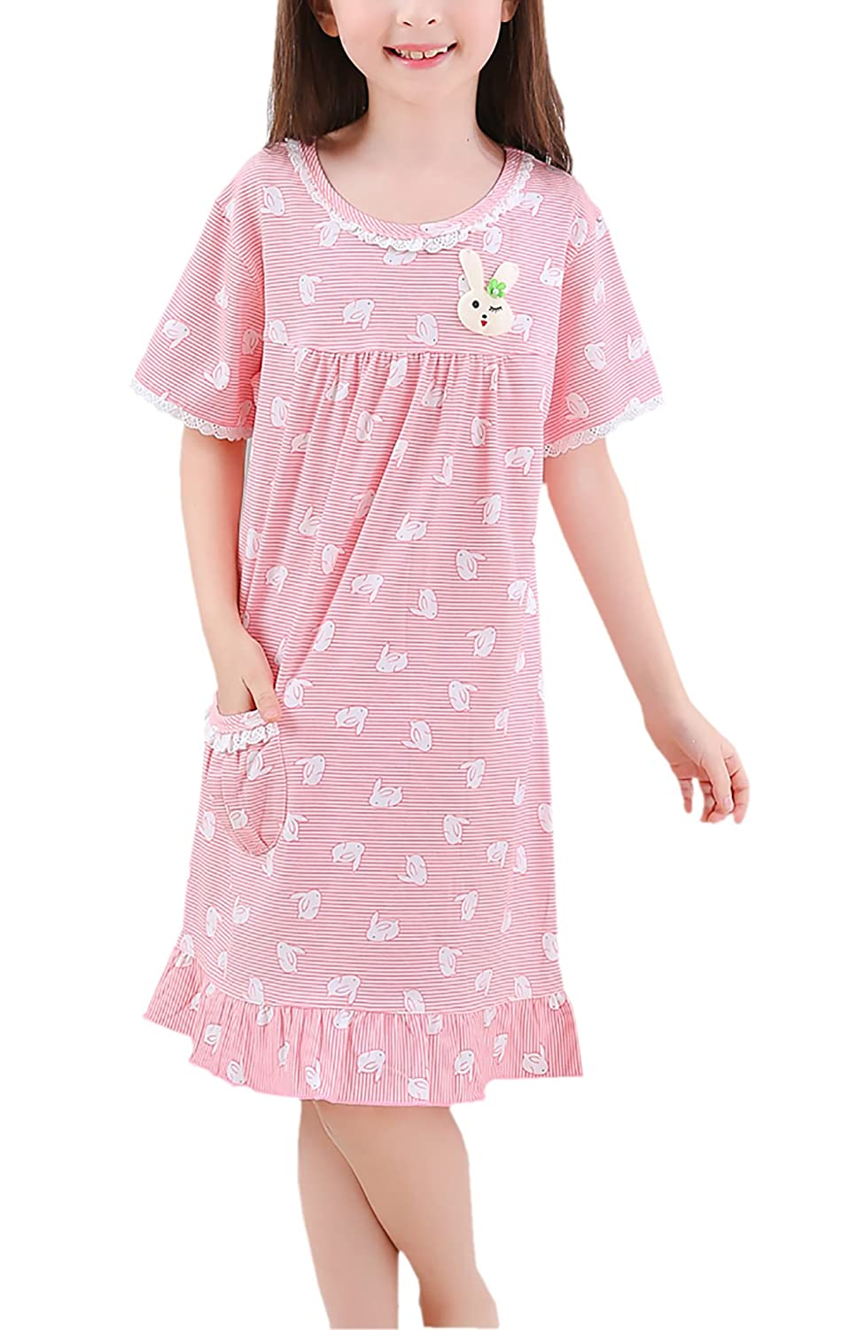 452a086acb Amazon.com  Zegoo Womens Girls 100% Cotton Nightgown Pink Family Pajamas   Clothing
