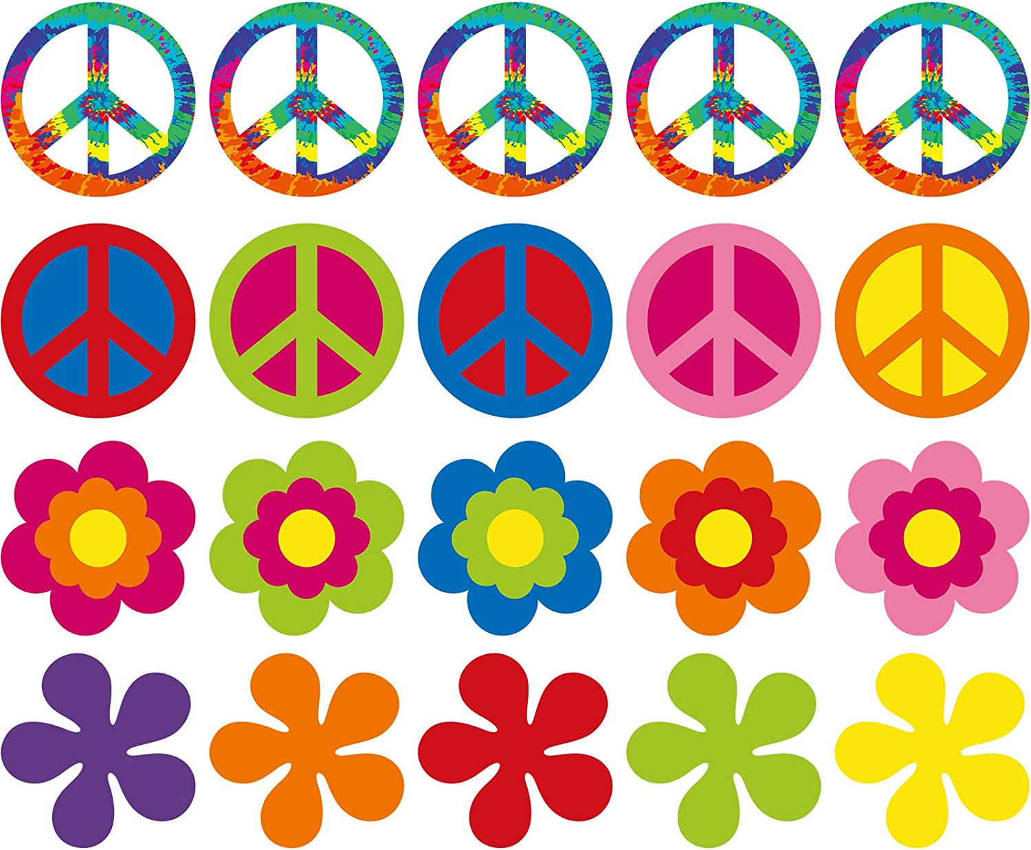 20 Pieces 60's Party Cutout 60's Groovy Party Cut-Outs Decoration Retro Flower Cutouts Peace Sign Cutouts with Glue Point Dots for 60's Theme Party Decorations, 7.9 x 7.9 Inch