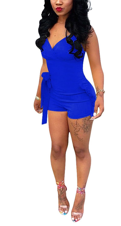 700557ed8e6 Amazon.com  Women s Hot Strap Deep V-Neck Floucing Solid Boho Maxi Romper  Jumpsuit Shorts  Clothing