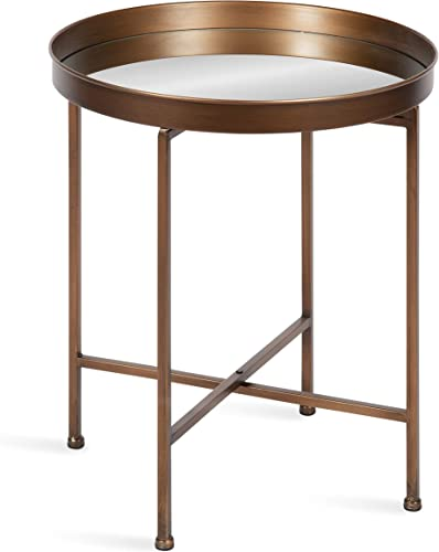 Kate and Laurel Celia Glam Mirrored Round Side Table