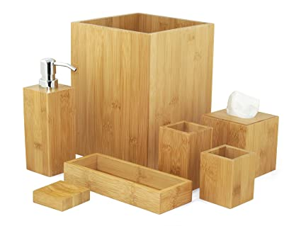 Set accessori da bagno pezzi in legno design decorativo amazon