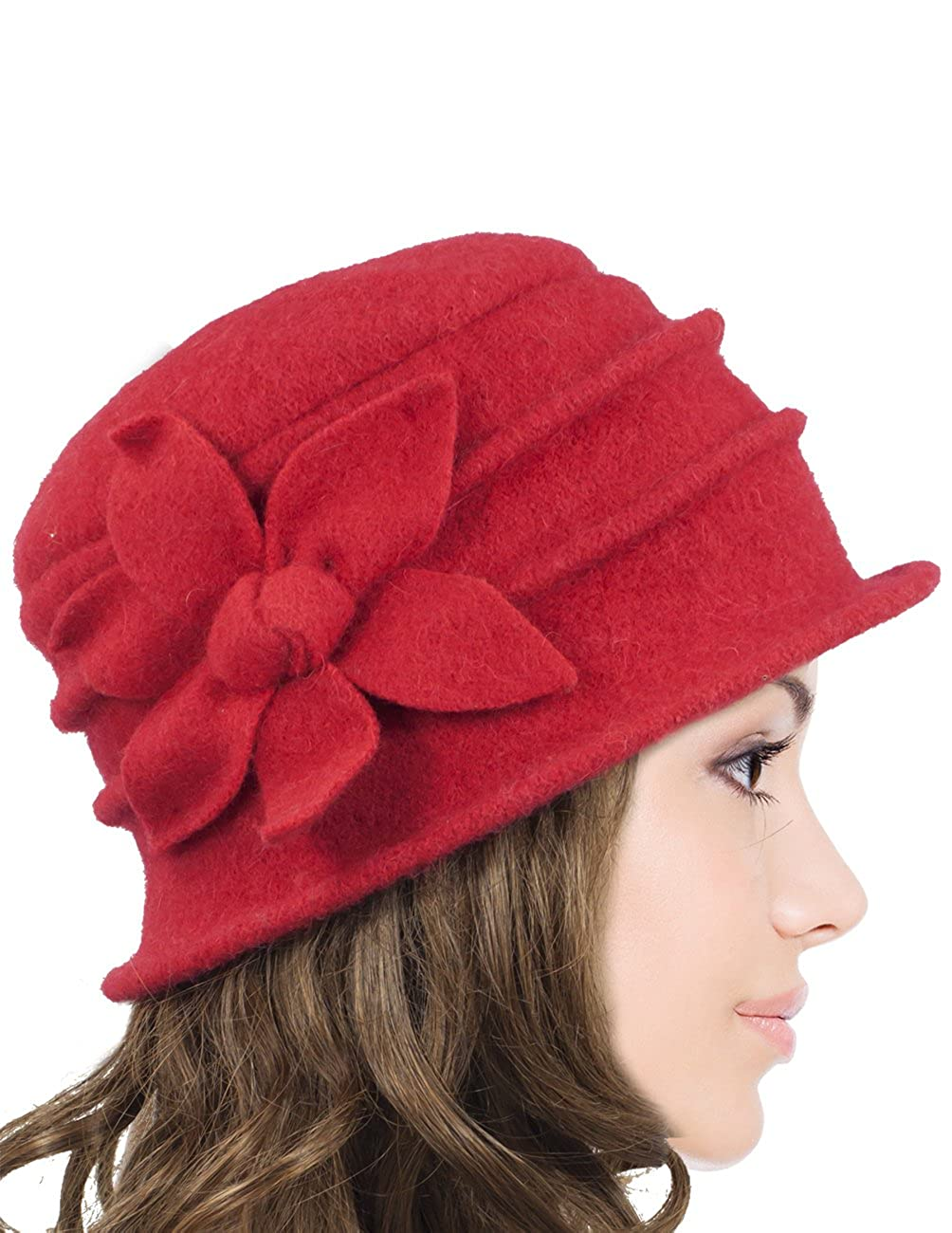 20a63ab0668 Dahlia Women s Daisy Flower Wool Cloche Bucket Hat HT0014WLW-BK ...