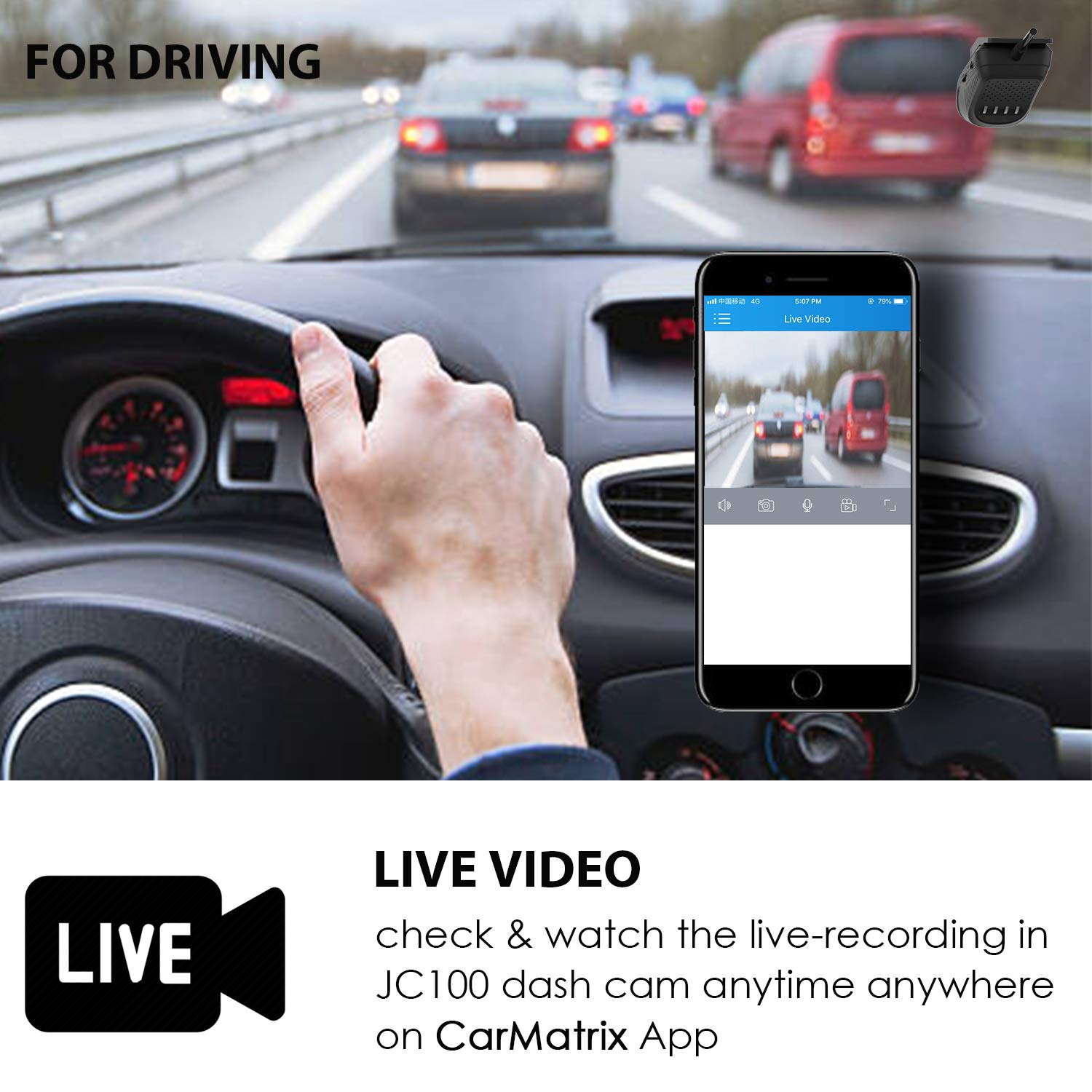 Dual Dash Cam, Toptellite 3G WiFi Dash Camera with Remote Live Video for Car 1080P Night Vision Front and Inward Camera with Built-In GPS, G-sensor, Loop Recording, Vibration Alarm – Free 16GB TF Card