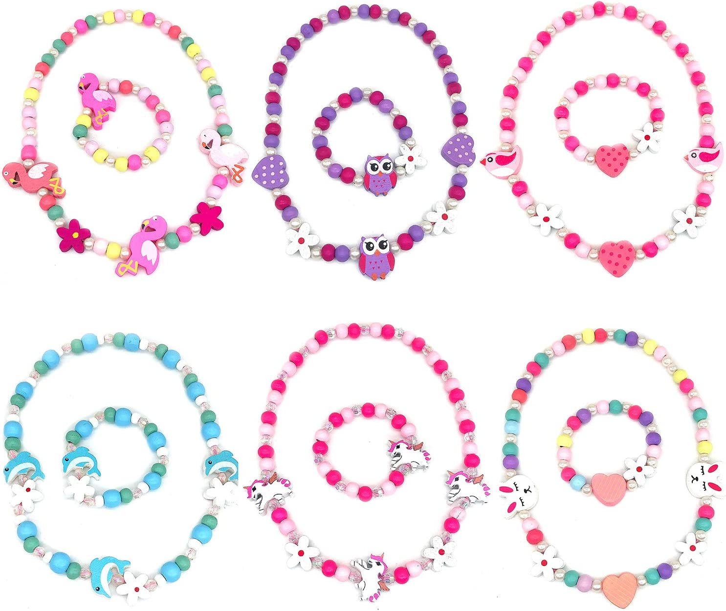 Elesa Miracle Little Girl Kids Unicorn Owl Flamingo Woodland Necklace Bracelet Set