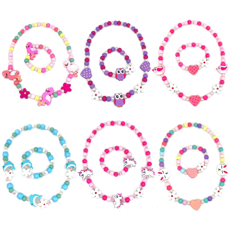 Elesa Miracle Little Girl Kids Unicorn Owl Flamingo Woodland Necklace Bracelet Set by Elesa Miracle