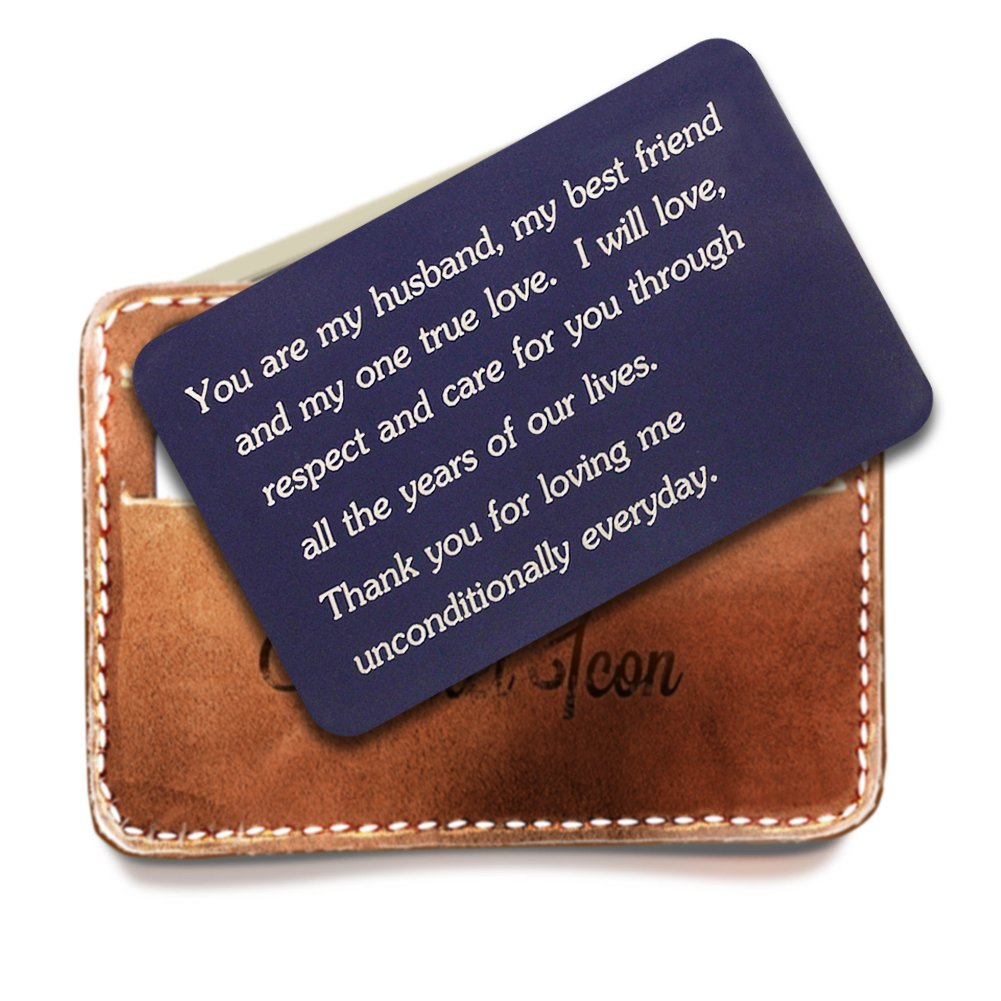 Personalized Navy Wallet Love Note Insert, Engraved Wallet Card Insert, You are My Husband My Best friend and My One True Love, Husband gifts, Gift for anniversary