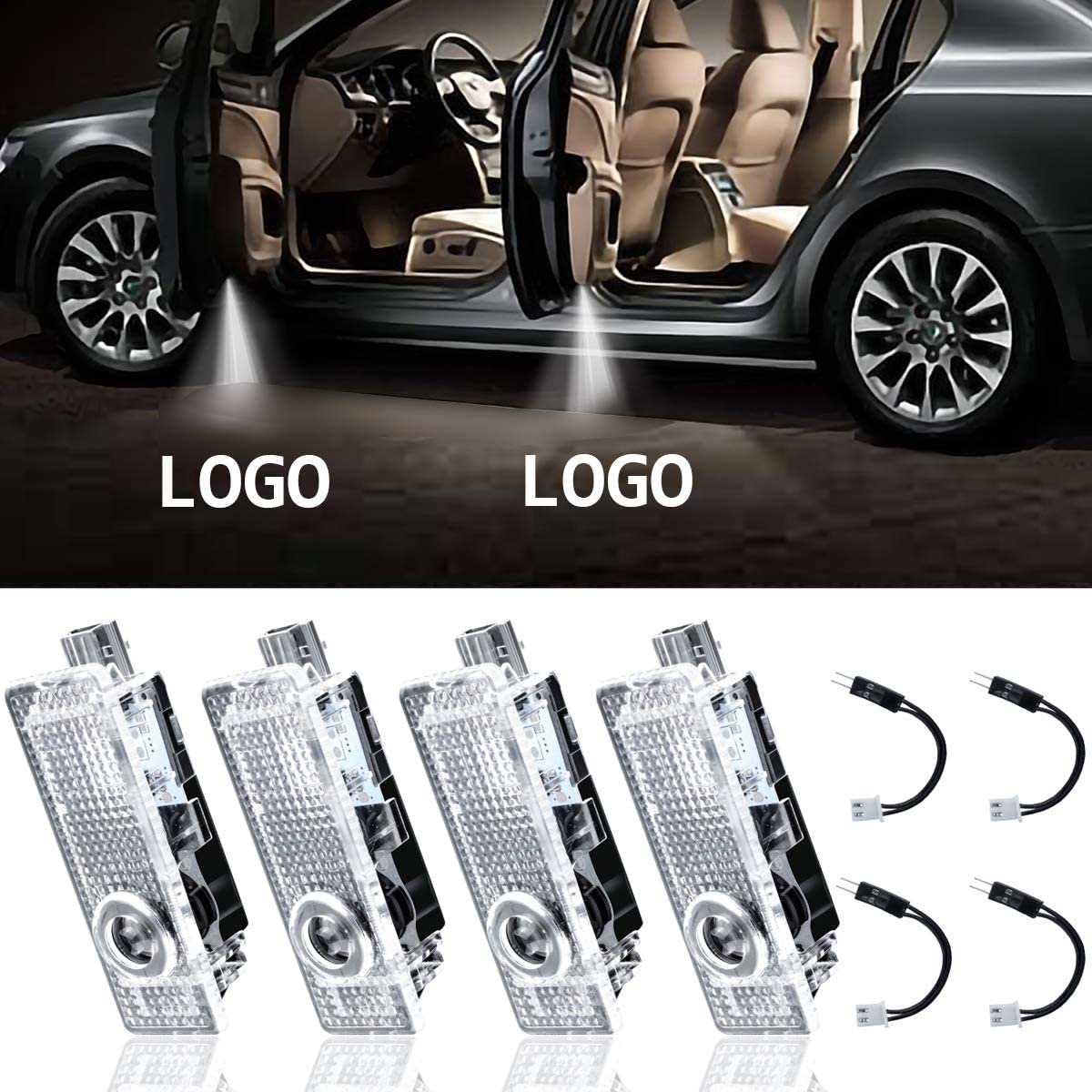 Car Door Logo Light for MINI 2 Pack LED Car Projector Logo Spirit Shadow Light Door Lighting Welcome Lamp Wireless Laser Projector Logo Light