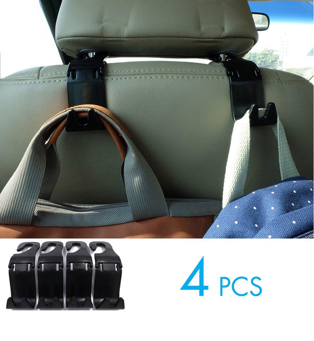 YOMOSI 4 PCS Car Seat Back Hook Auto Seat Headrest Portable Organizer Holder Hooks Grocery Shopping Bag Travel Vehicle Car Safety Hanging Hook Carrier