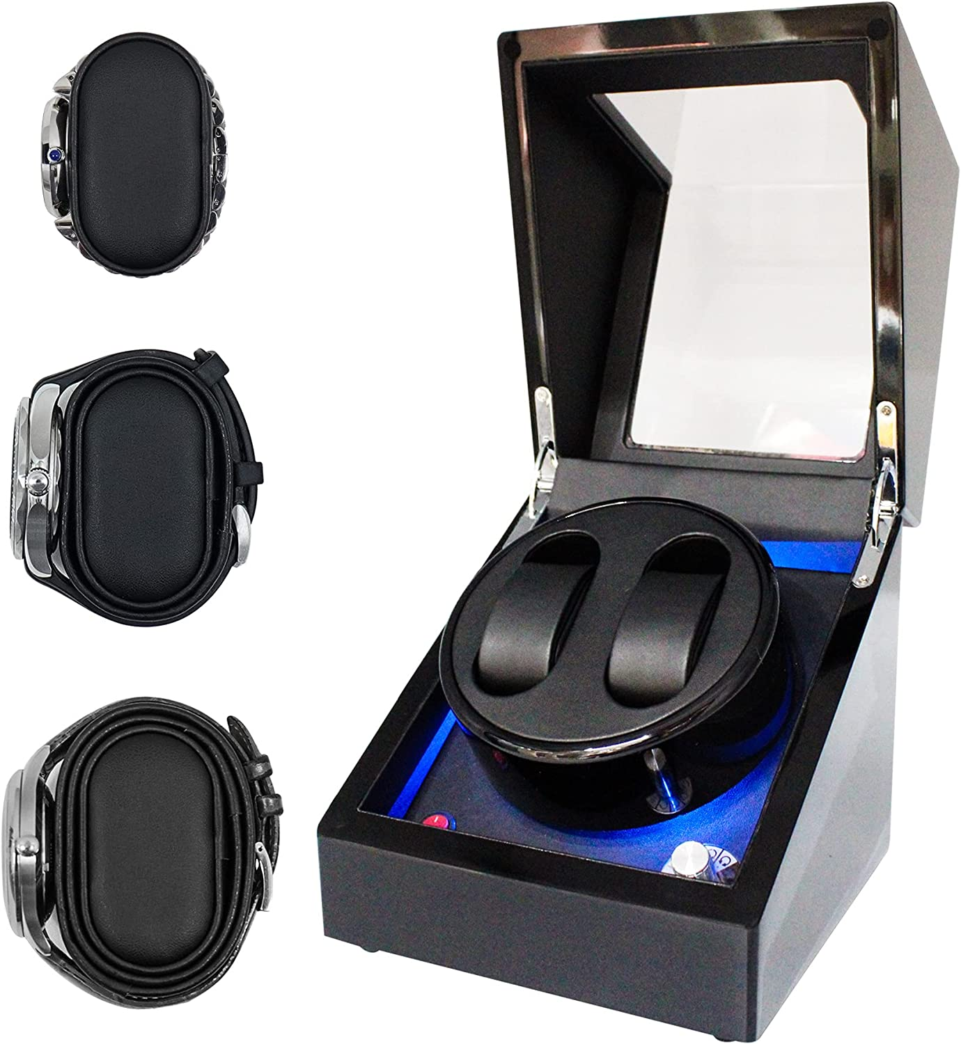 ORYX Double Watch Winders for Automatic Watches Box, Watch Rotator for 3 Sizes Watches with LED Light, Rotating Watch Case, Watch Shaker, Ac or Battery Powered Super Quiet Mabuchi Motor(Black+Black): Watches